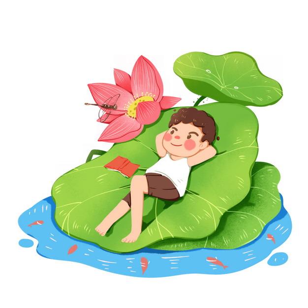 卡通男孩躺在荷叶荷花上749241png图片素材