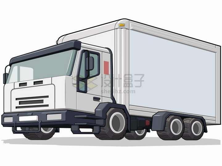 银白色的卡通厢式货车卡车png图片免抠矢量素材