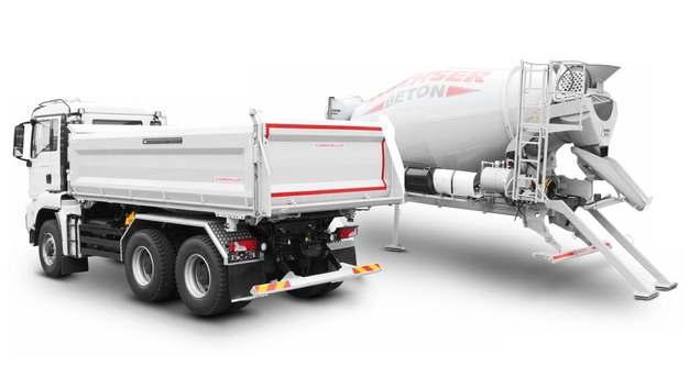 白色泥头车自卸卡车水泥搅拌车765069png图片素材