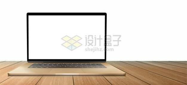 木板上的金色笔记本电脑样机409412 png图片素材
