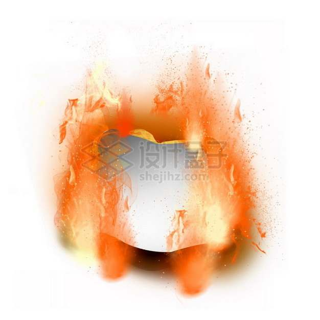 燃烧着火焰的纸张特效果7646521png图片素材