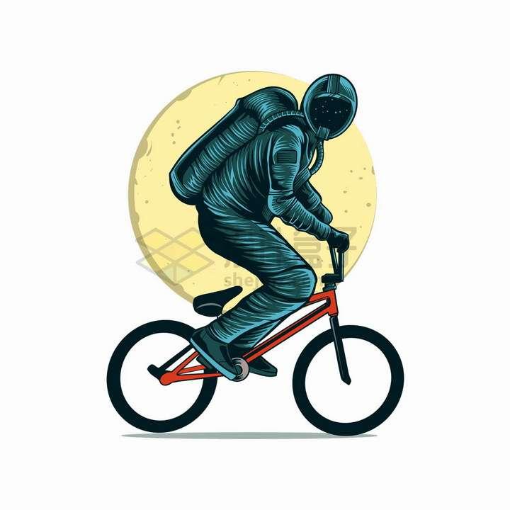 宇航员骑自行车抽象漫画插画png图片免抠矢量素材