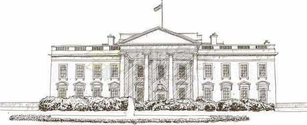 素描手绘风格美国白宫png图片素材
