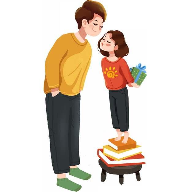 女儿站在凳子上亲吻年轻爸爸父亲节711611png图片素材