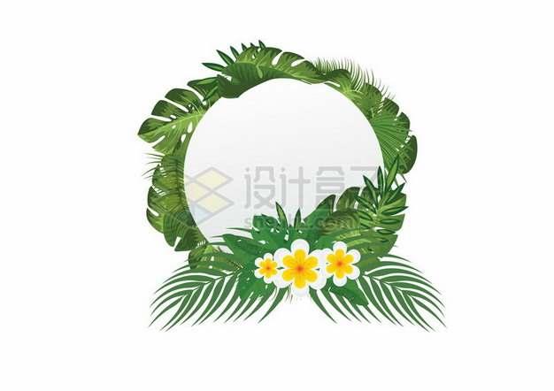 各种绿叶和鸡蛋花鲜花组成的标题框文本框360307png图片素材