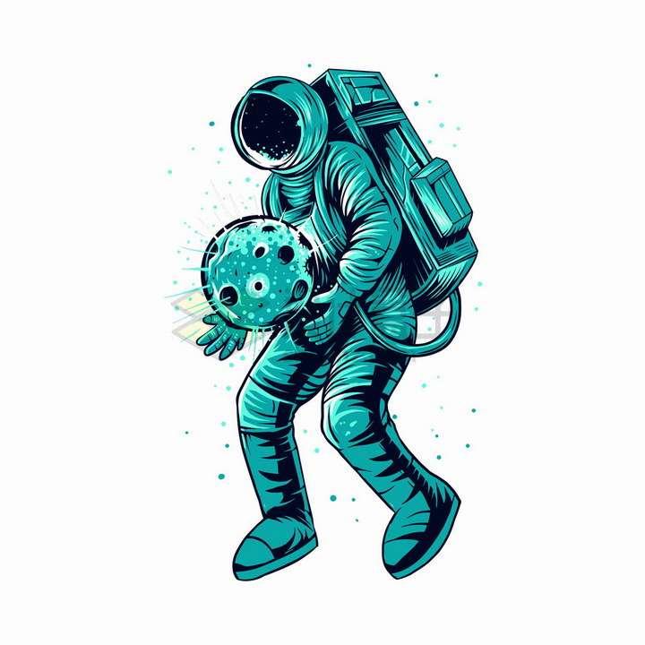 宇航员捧着一颗星球抽象漫画插画png图片免抠矢量素材