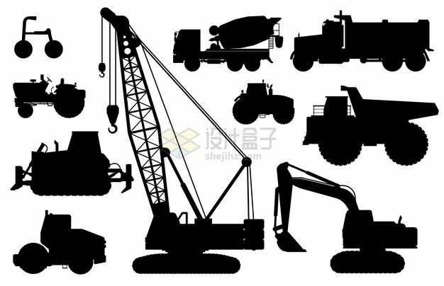 各种拖拉机吊车推土机水泥车挖掘机压路机等工程机械剪影390136png图片素材