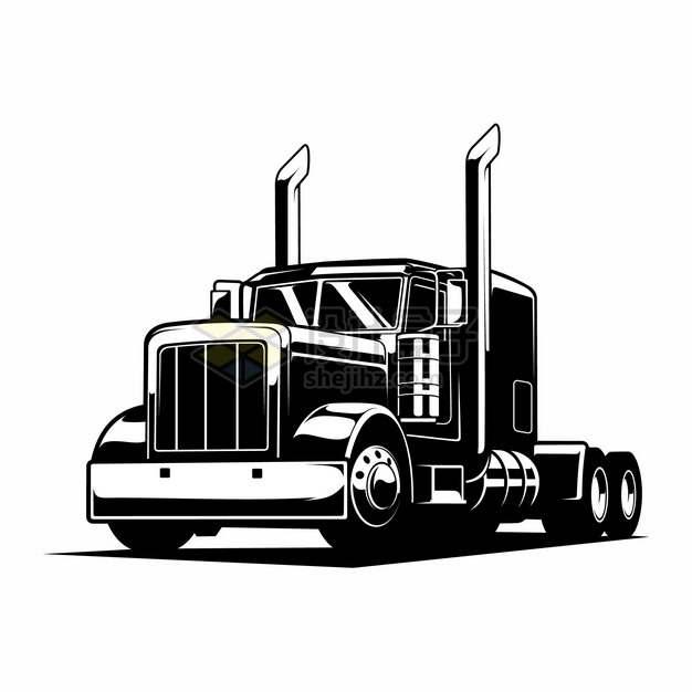 黑白色重型卡车头712357png图片素材