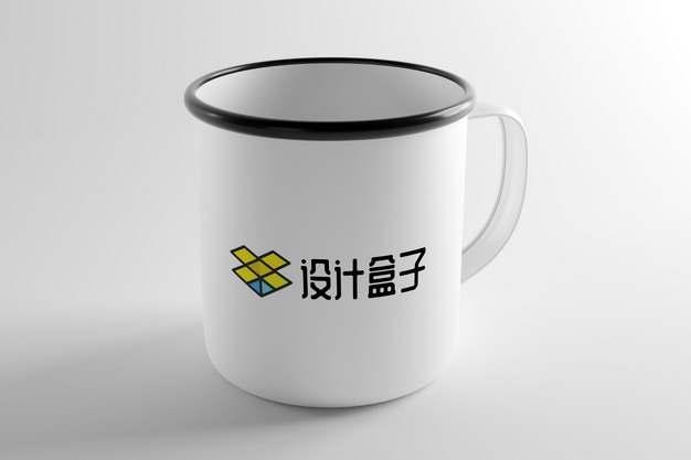 搪瓷杯复古水杯茶缸子表面图案psd样机图片模板素材