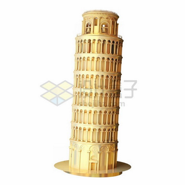 金色比萨斜塔png免抠图片素材 建筑装修-第1张