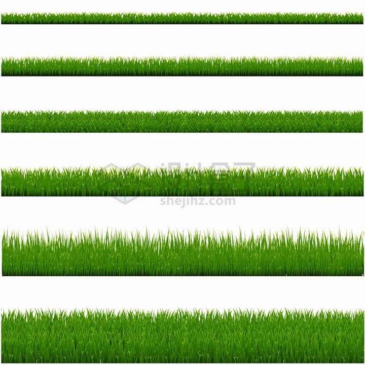 6款高度各不相同的青草地草丛png图片免抠矢量素材