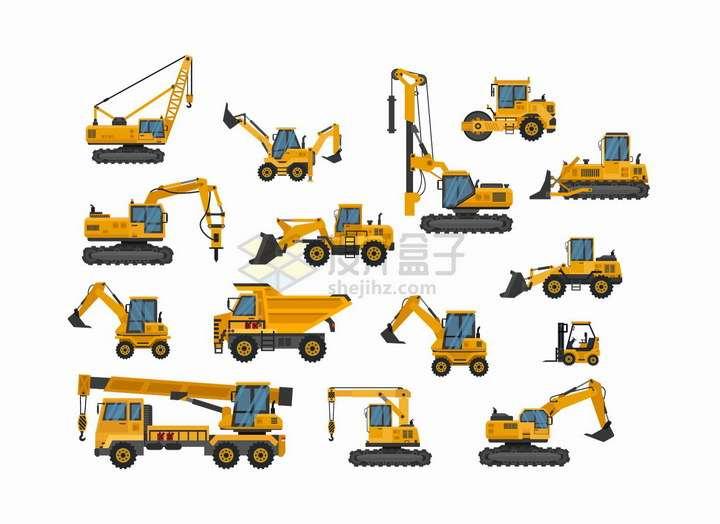 各种黄色的起重机推土机挖掘机吊车打桩机等工程机械png图片免抠eps矢量素材