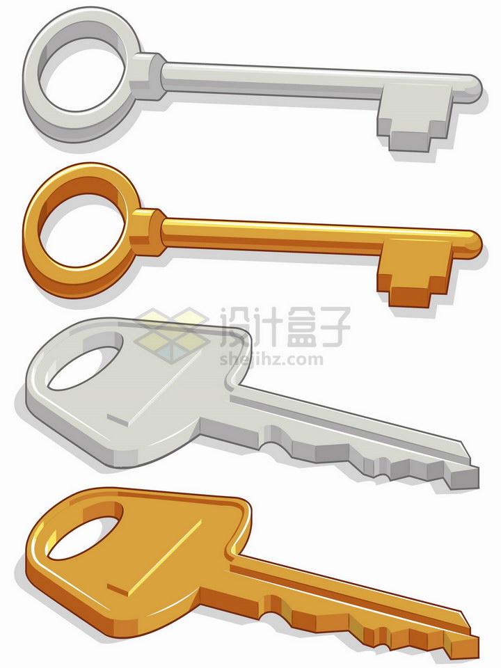 4把卡通钥匙银色金色png图片免抠矢量素材 生活素材-第1张