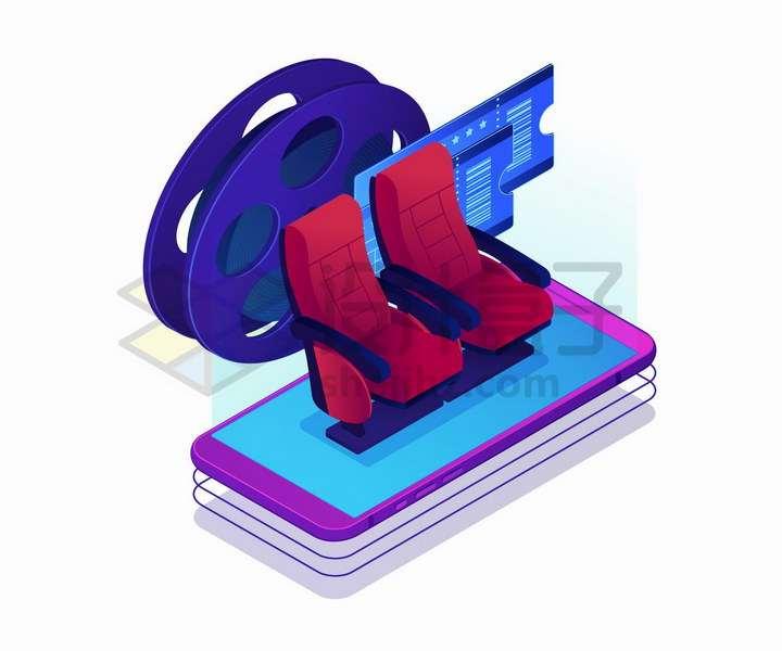 紫色手机上的电影院座椅象征了手机看电影png图片免抠矢量素材