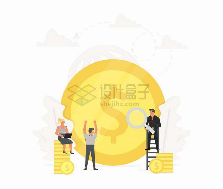 背景是巨大的金币商务人士销售冠军扁平插画png图片免抠矢量素材