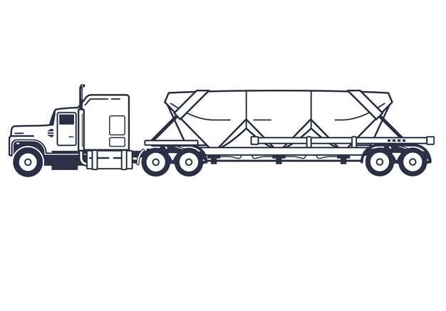 装满货物的线条平板拖车大型卡车侧视图967786png图片素材