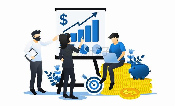 坐在金币上用电脑计算增长曲线的商务人士扁平插画png图片免抠矢量素材 金融理财-第1张