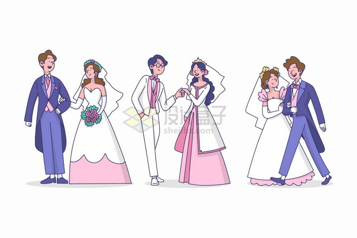 三对新人结婚新郎新娘卡通插画png图片免抠eps矢量素材 人物素材-第1张