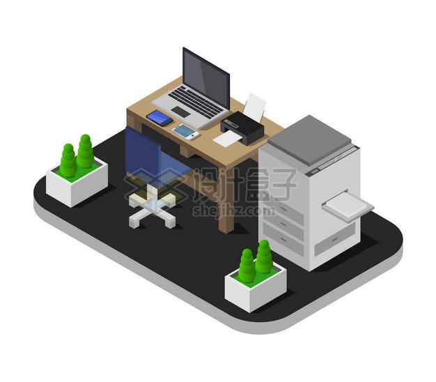 2.5D风格电脑桌打印机等办公室装修492385png图片矢量图素材 建筑装修-第1张