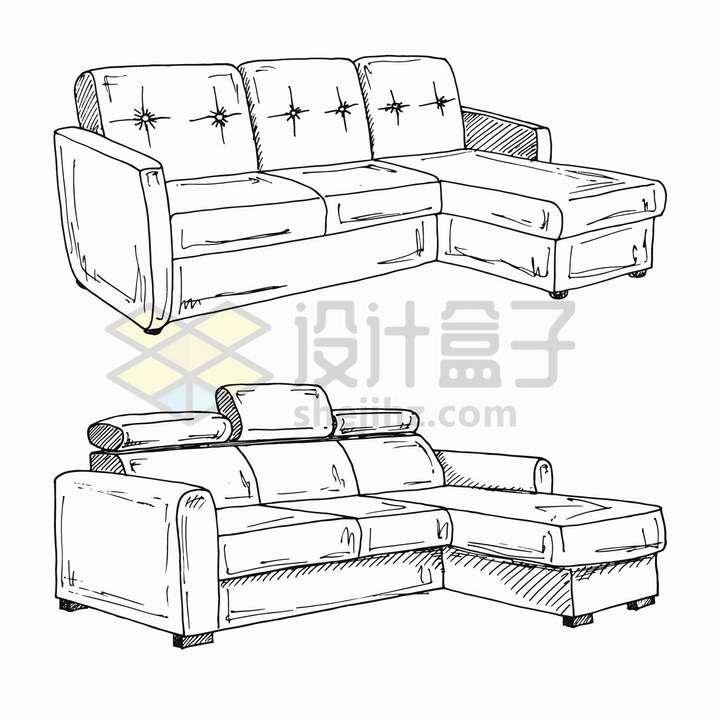 手绘素描风格布艺沙发客厅家具png图片免抠矢量素材