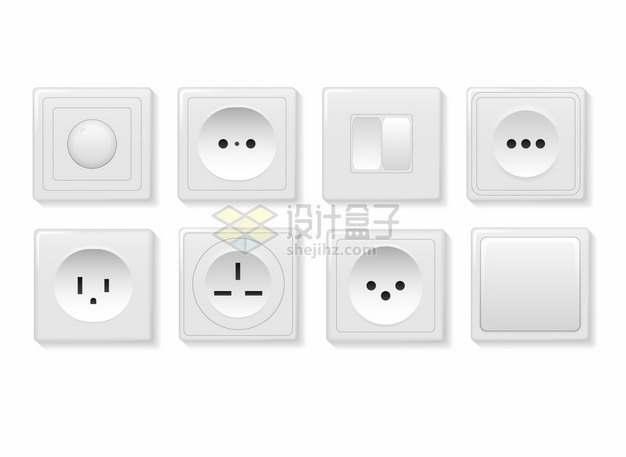 8款白色开关插座面板377221png图片素材