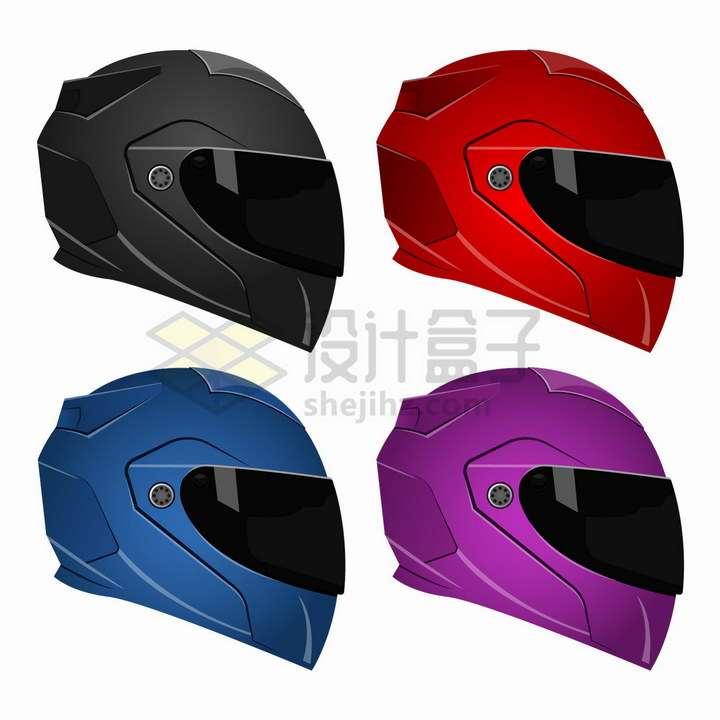 4种颜色的摩托车电动车头盔png图片免抠矢量素材