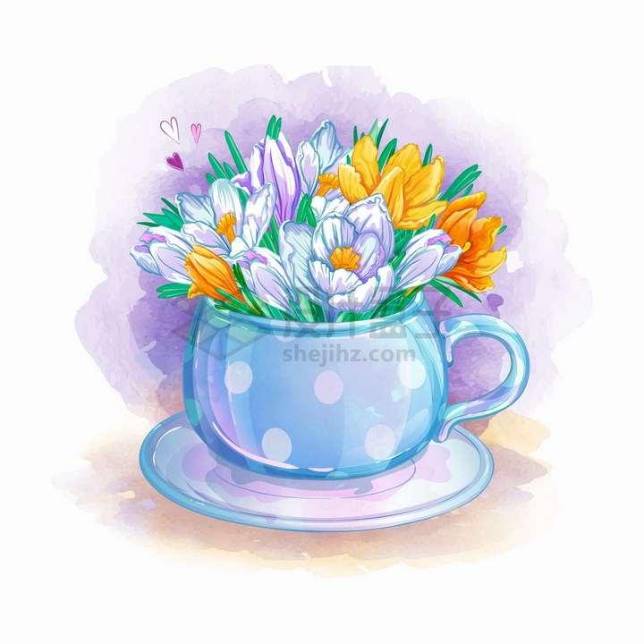 茶杯中的鲜花水彩插画png图片免抠矢量素材