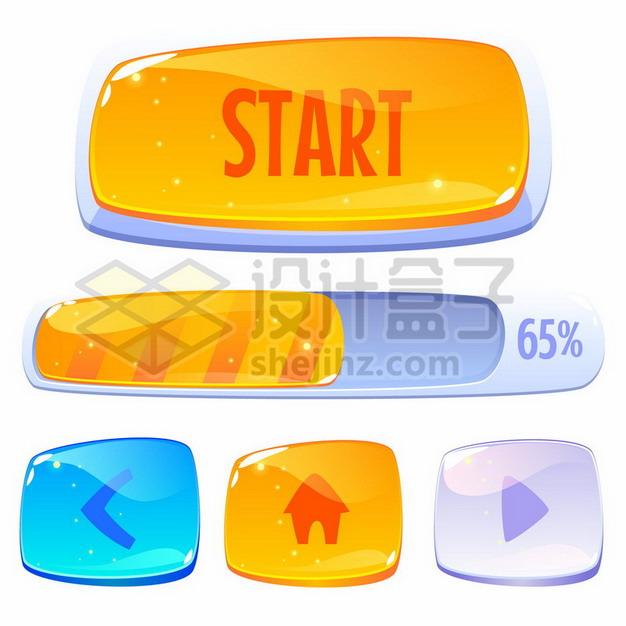 可爱的卡通游戏按钮开始按钮进度条png图片素材297084