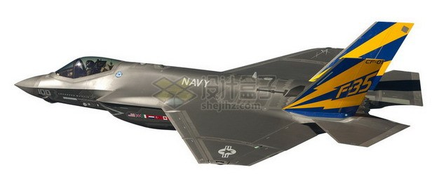 F35肥电战斗机后侧视图png免抠图片素材 军事科幻-第1张