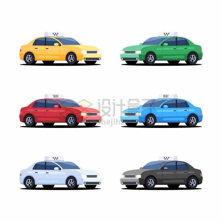 6款不同颜色的出租车png图片免抠eps矢量素材