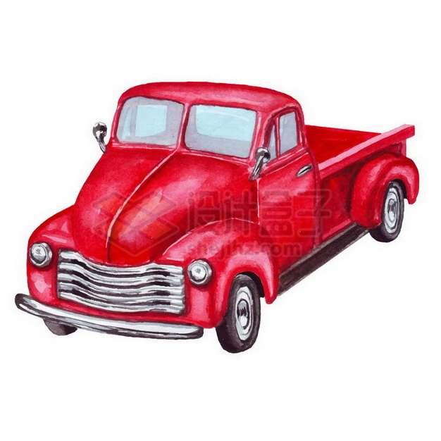 彩绘风格红色卡通汽车皮卡png图片免抠矢量素材
