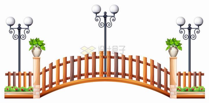 公园里的木桥和木栅栏以及路灯png图片免抠eps矢量素材 建筑装修-第1张