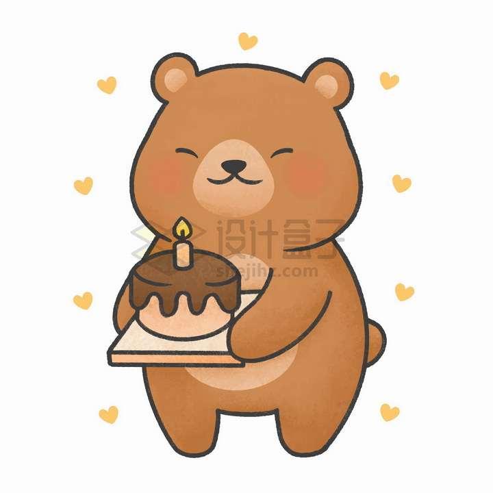 简约卡通小熊端着生日蛋糕png图片免抠矢量素材