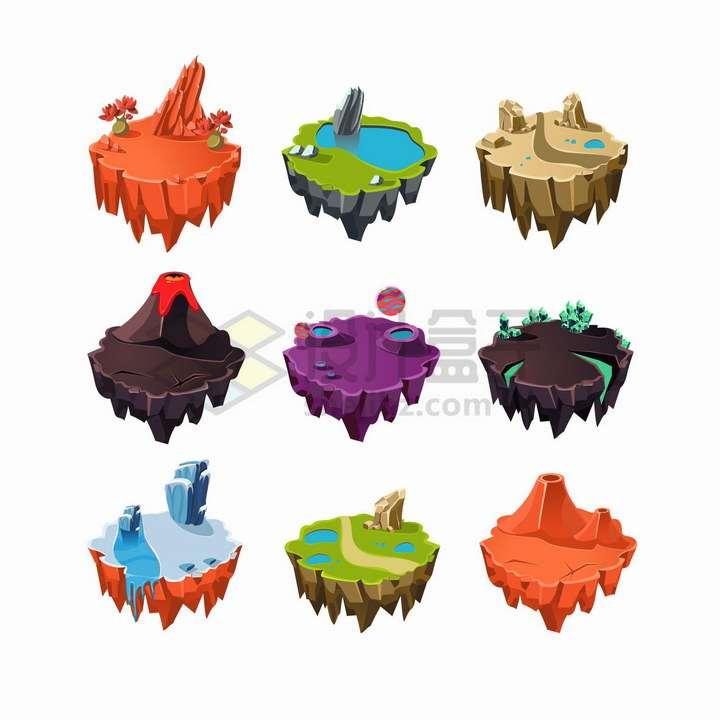 9款火山池塘沙漠冰山等卡通悬空岛悬浮岛png图片免抠矢量素材