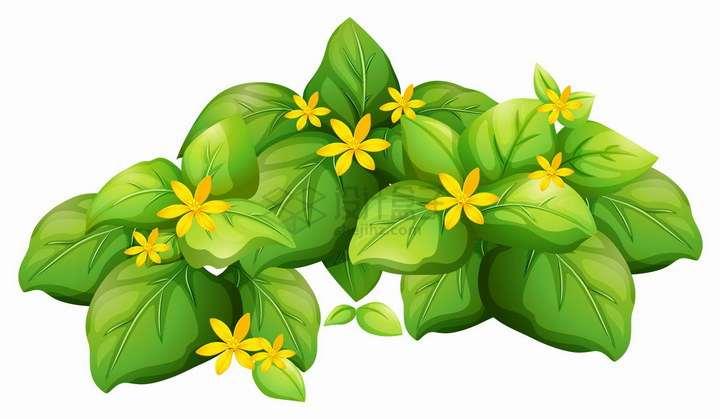 绿油油的树叶和点缀的黄色小花png图片免抠eps矢量素材