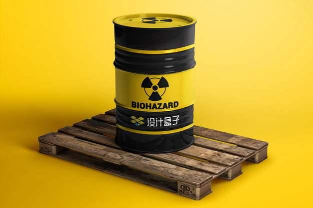 木制托盘上的汽油桶核废料桶psd样机图片模板素材