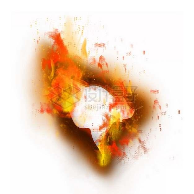 燃烧着火焰的纸张特效果6879343png图片素材