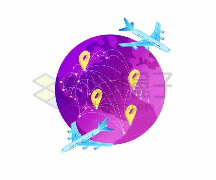 紫色地球模型和定位图标以及蓝色飞机世界旅行png图片免抠矢量素材