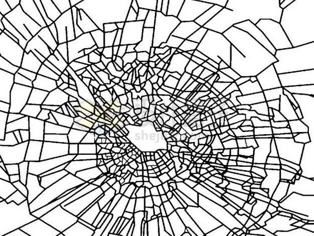 黑色线条玻璃破碎裂纹裂缝png图片素材