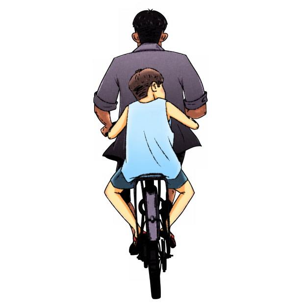 爸爸骑自行车带着儿子父亲节背影插画439390png图片素材