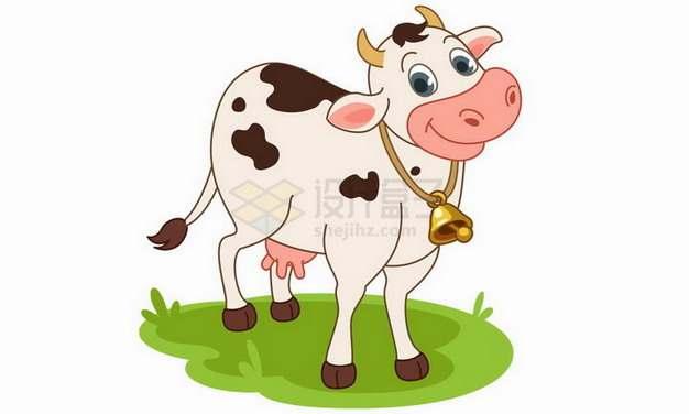 草地上的卡通奶牛png图片免抠矢量素材