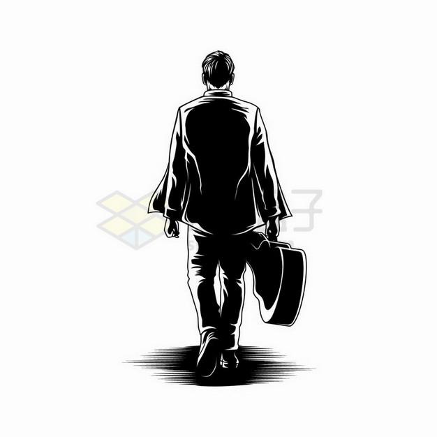 素描手绘提着吉他的男人背影剪影png图片免抠矢量素材 人物素材-第1张