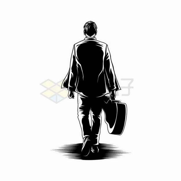 素描手绘提着吉他的男人背影剪影png图片免抠矢量素材