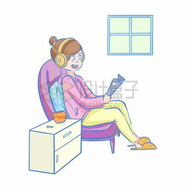 卡通女孩戴着耳机坐在沙发上看书png免抠图片素材 教育文化-第1张