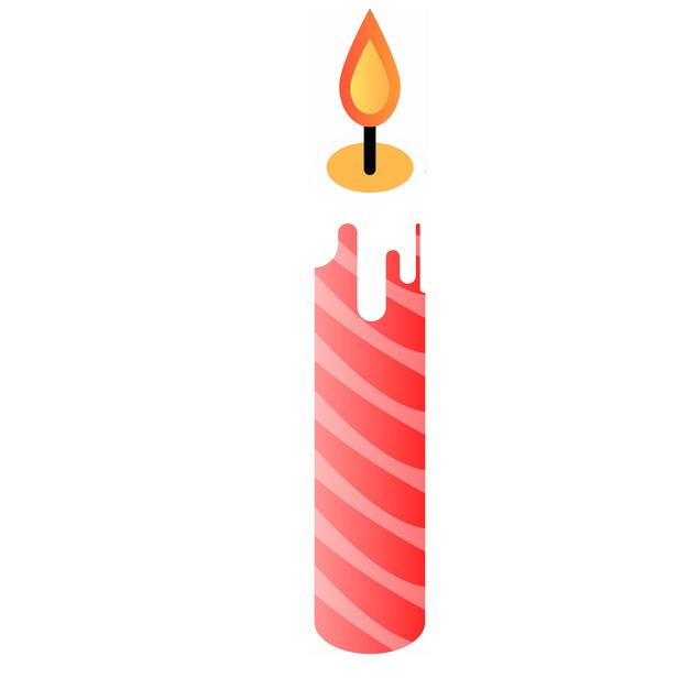 红色条纹的卡通生日蜡烛5674637png图片素材 生活素材-第1张