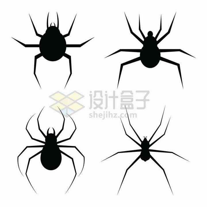 4款黑色的蜘蛛图案剪影png图片免抠矢量素材