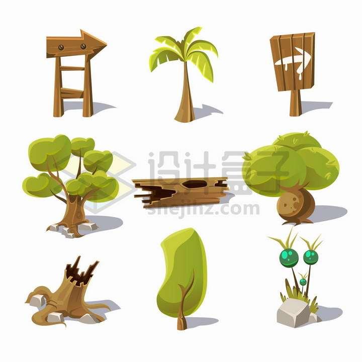 9款卡通风格椰子树大树树桩木牌等png图片免抠矢量素材