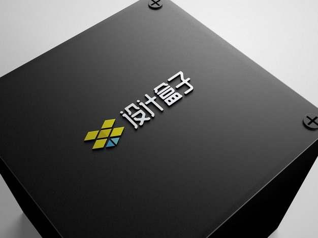 黑色金属面板上的3D立体logo标志样机690657psd样机图片模板素材