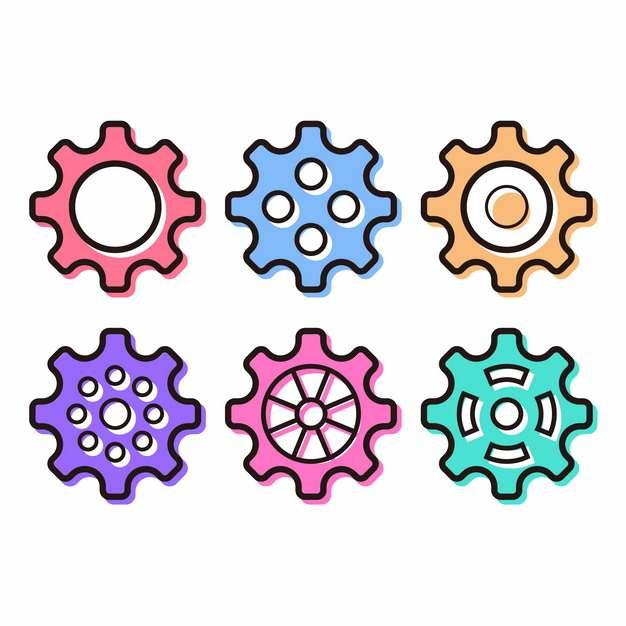 6款彩色卡通齿轮图案761696AI矢量图片素材