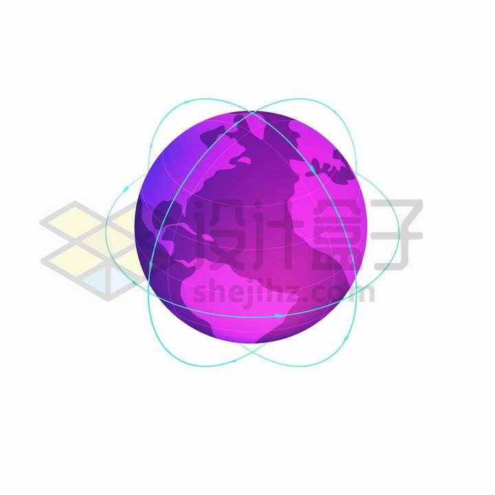 2.5D风格紫色地球模型和蓝色轨迹png图片免抠矢量素材